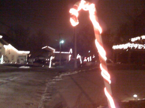 Everyone had these 6 foot tall lit-up candy canes.