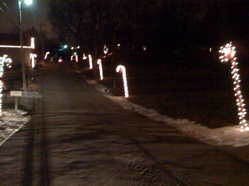 another street of candy canes
