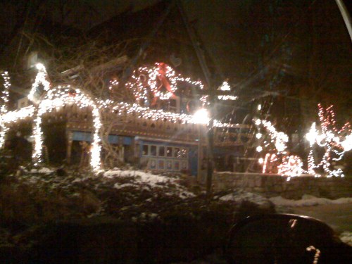 2) Honestly this house is way cooler than the lights on it. It's down the street from me five houses, and is a gingerbread-replica-house.